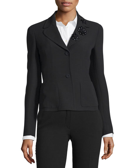 Escada Embellished Collar Two-Button Jacket, Black