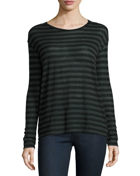 Majestic Paris for Neiman Marcus Striped Boxy Cashmere-Blend