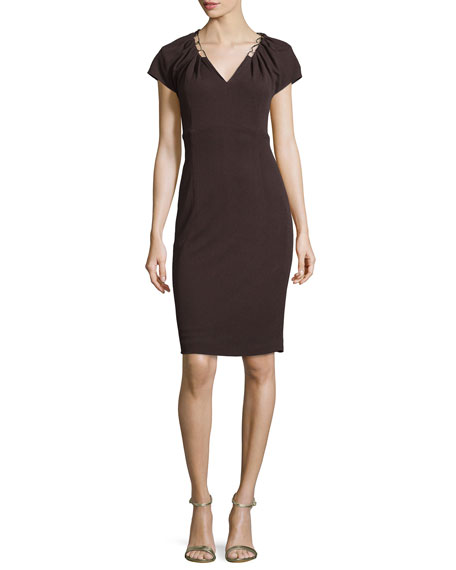 Escada Embellished-Neck Sheath Dress, Mocca