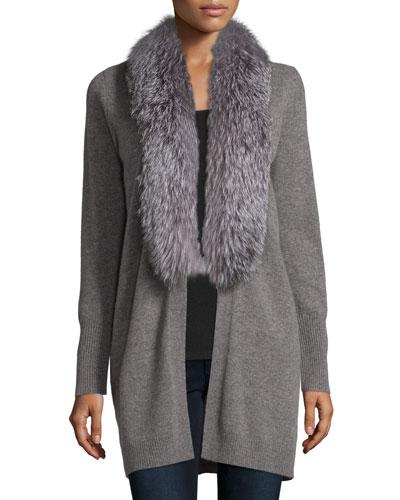 Open Cashmere Cardigan w/ Fox Fur Collar