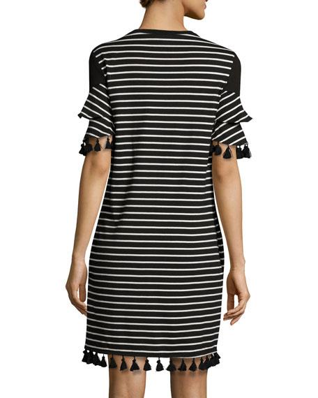Tassel-Trim Striped Knit Dress