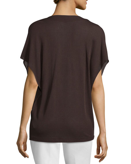 Flutter-Sleeve Cowl-Neck Top, Mocca