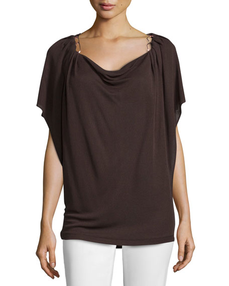 Escada Flutter-Sleeve Cowl-Neck Top, Mocca