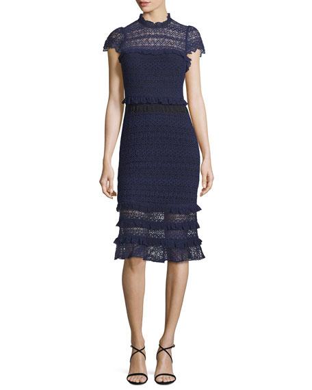 Parker Annabelle Lace Cap Sleeve Midi Dress Aquarius