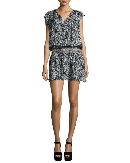 Parker Dean Floral-Print Silk Blouson Dress, Filaree