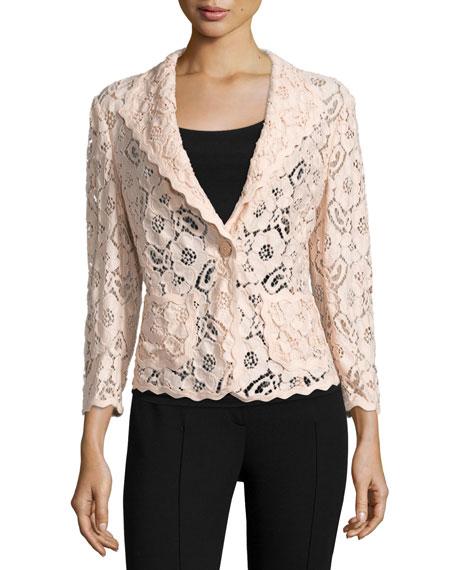 Escada 3/4-Sleeve One-Button Lace Jacket, Rose Quartz