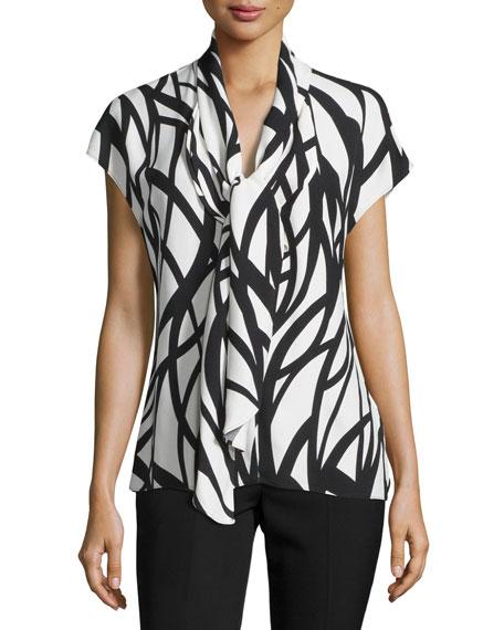 Escada Cap-Sleeve Tie-Neck Printed Top, Off White