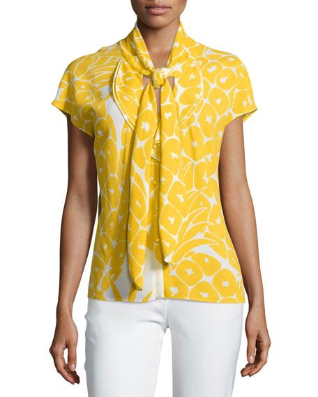 Escada Cap-Sleeve Tie-Neck Printed Top, Pineapple