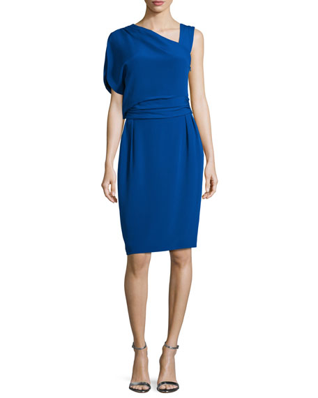 Escada Draped One-Sleeve Sheath Dress, Azure