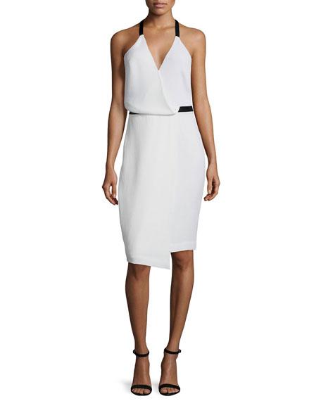 Camilla & Marc Sleeveless Faux-Wrap Dress, White