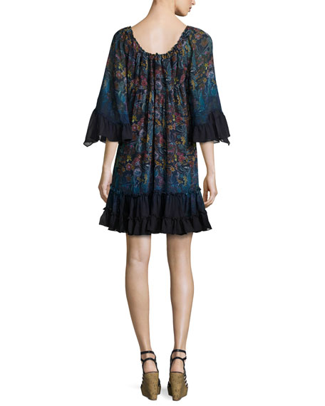 Lupita Floral-Print Chiffon Dress