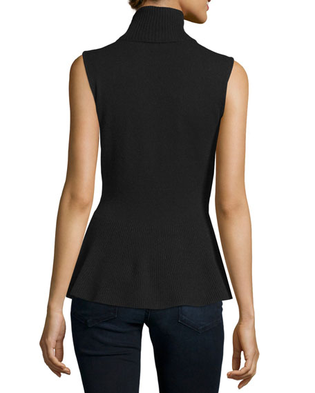 Sleeveless Cashmere Peplum Turtleneck, Black