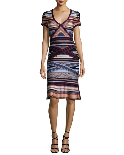 Short-Sleeve Ikat-Print Flounce Dress, Multi Colors