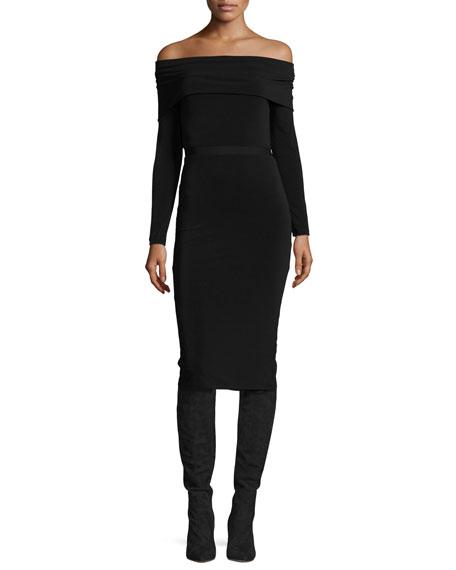 Alice Olivia Lara Off The Shoulder Fitted Midi Dress