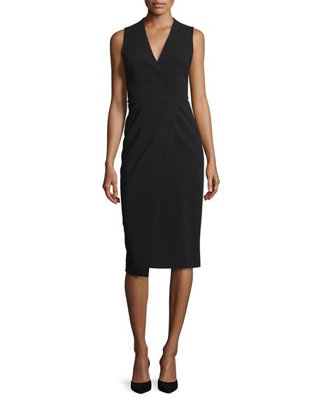 Alice + Olivia Carissa Sleeveless Faux-Wrap Dress, Black