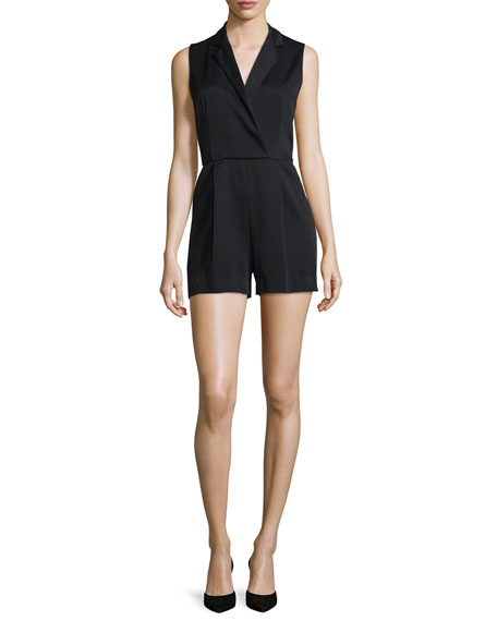 Alice + Olivia Debby Sleeveless Tuxedo Romper, Black
