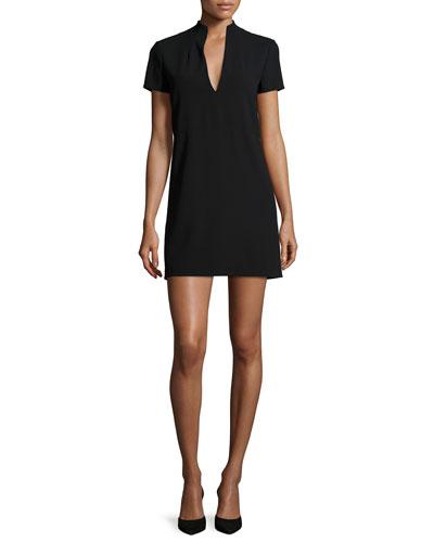Barry Short-Sleeve V-Neck Mini Dress, Black