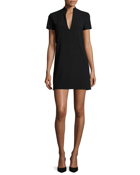 Alice + Olivia Barry Short-Sleeve V-Neck Mini Dress,