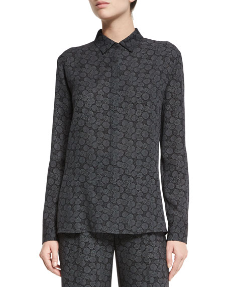 Tie-Print Silk Blouse, Black/Shark