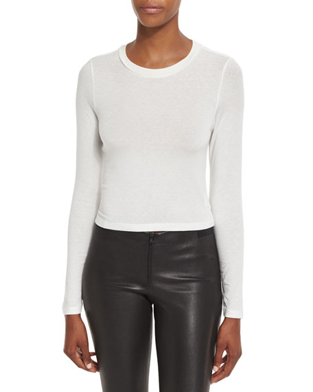Jaylene Long-Sleeve Crewneck Crop Top, Cream