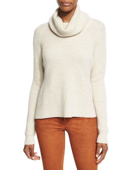 Alice + Olivia Nettie Transfer-Knit Ribbed Sweater, Cream
