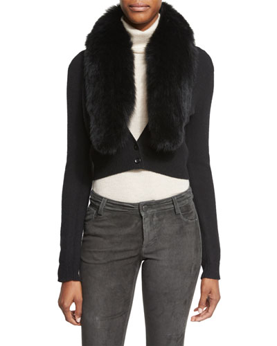 Lily Fox-Fur Collar Cardigan, Black