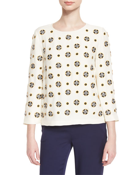Diane von Furstenberg CANVAS WHITE LUNA EMB TOP