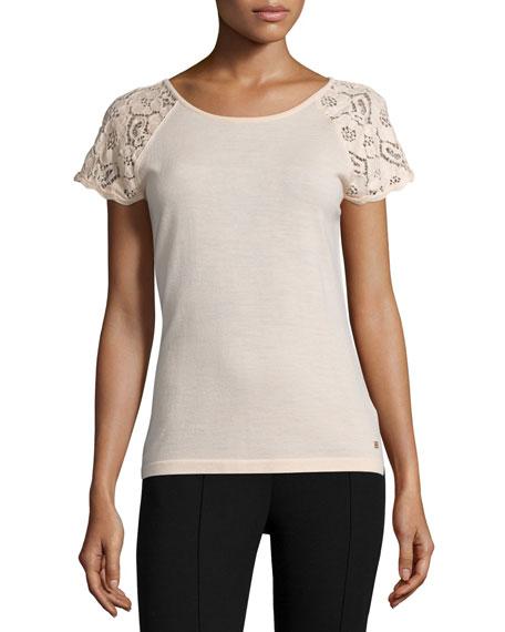 Escada Lace-Sleeve Slim-Fit Top, Rose Quartz
