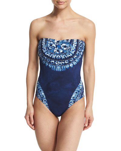 Moody Blues Bandeau Printed One-Piece Swimsuit