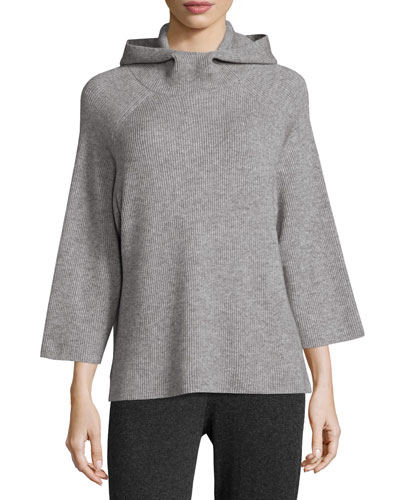 Hooded Ribbed Wool Sweater, Stone