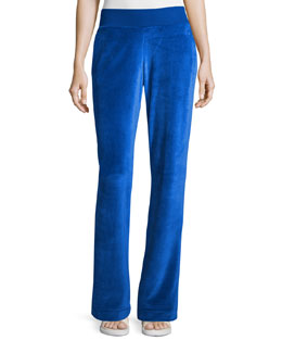 Wide-Leg Velvet Pants, Majorelle Blue