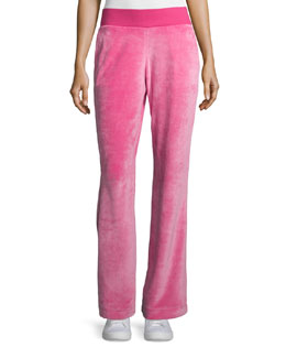 Wide-Leg Velvet Pants, Watermelon