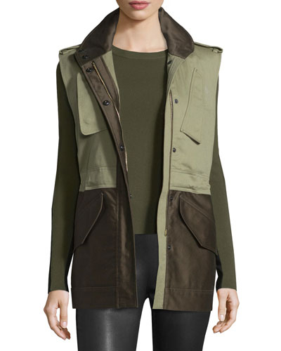 Kinsley Cotton Colorblock Vest, Army Green