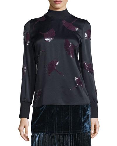 Long-Sleeve Gingko-Embellished Satin Top, Midnight