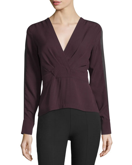 Yigal Azrouel Long-Sleeve Pleated-Front Top, Bordeaux/Multi