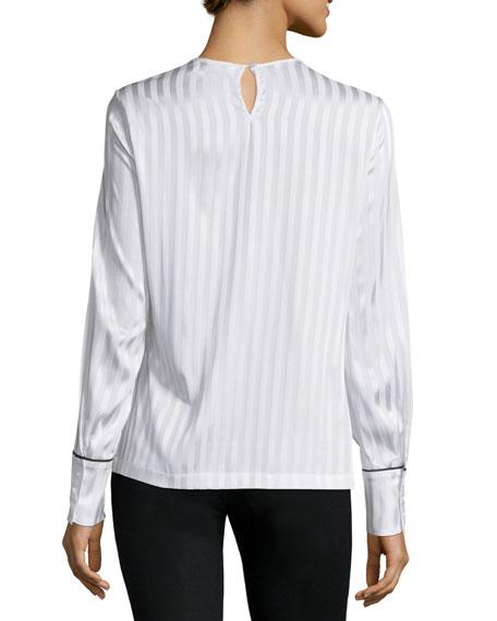 Long-Sleeve Tonal-Striped Blouse, Optic White