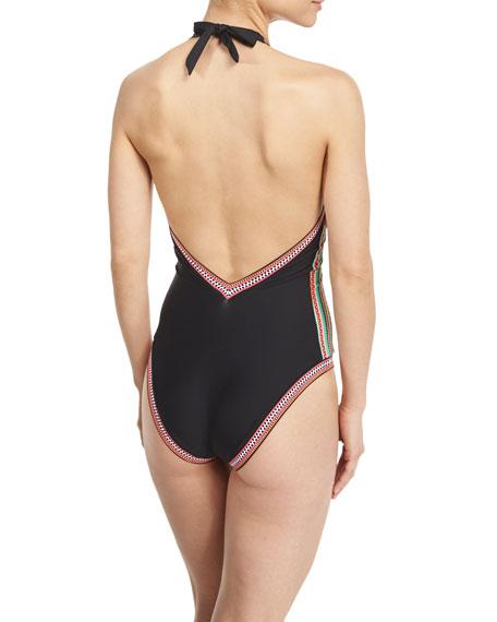 Dashiki V-Neck Printed One-Piece Swimsuit
