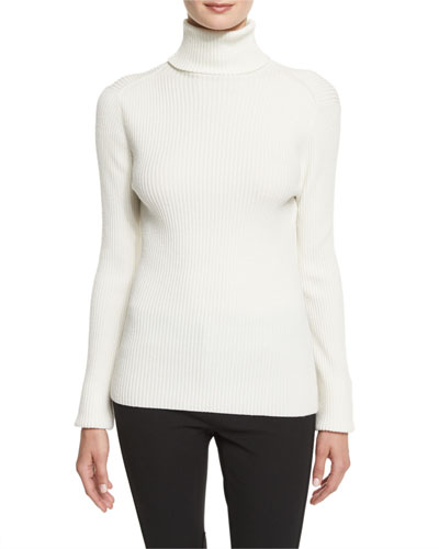 Long-Sleeve Ribbed Turtleneck Sweater, Antique White