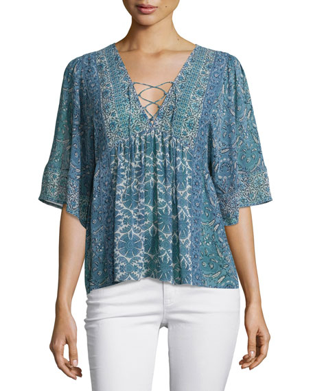 Joie Scorpio Lace-Up Printed Top