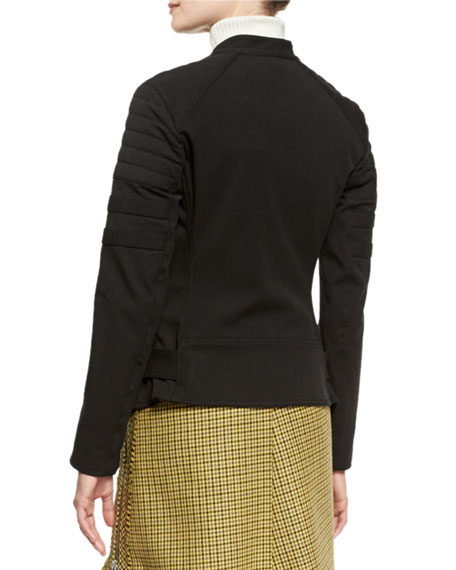 Sculpted Zip-Trim Moto Jacket, Black