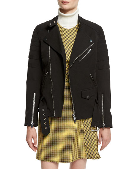 3.1 Phillip Lim Sculpted Zip-Trim Moto Jacket, Black