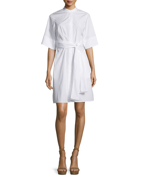 3.1 Phillip Lim Short-Sleeve Belted Poplin Shirtdress, White