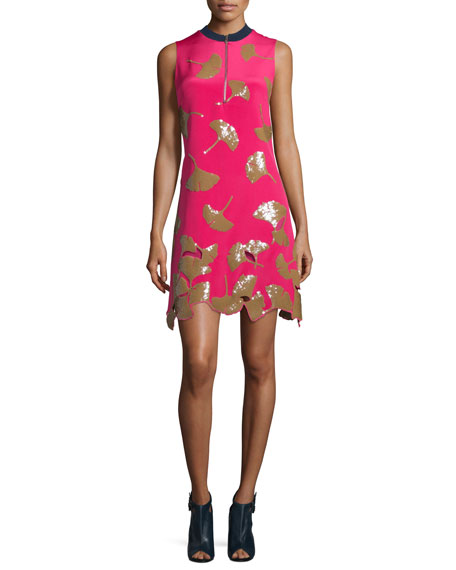 3.1 Phillip Lim Gingko-Embellished Shift Dress, Bright Cerise
