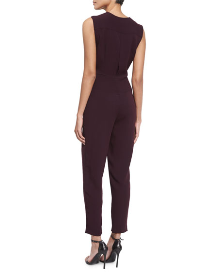 Sleeveless V-Neck Ankle Jumpsuit, Burgundy