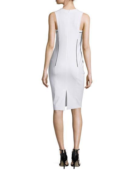 Sleeveless Sheath Dress W/Contrast Trim, Optic/Multi