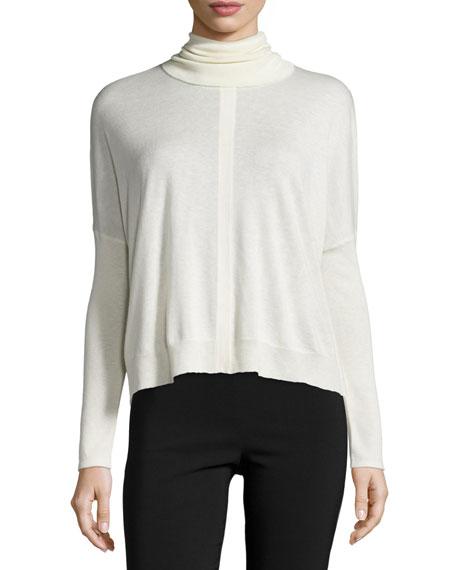 Yigal Azrouel Long-Sleeve Turtleneck Short Sweater, Ivory
