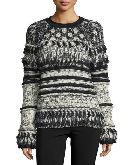 Yigal Azrouel Long-Sleeve Striped Sweater W/Fringe, Jet/Multi