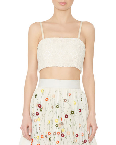 Alice + Olivia Brentley Cropped Bustier Top, Cream