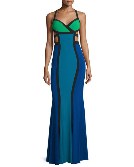 Mignon Sleeveless Colorblock Gown W/Cutouts, Royal/Multi