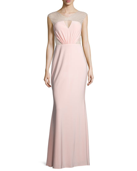 Mignon Cap-Sleeve Embellished-Inset Gown, Pink